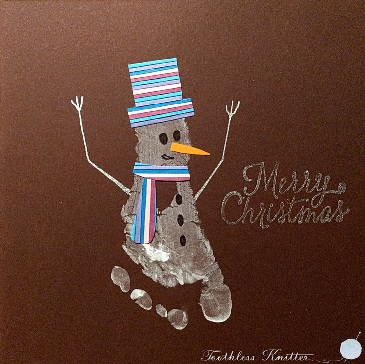 Kartka Bożonarodzeniowa z Odciskiem Stopy - Bałwan / Snowman Footprint Christmas Cards
