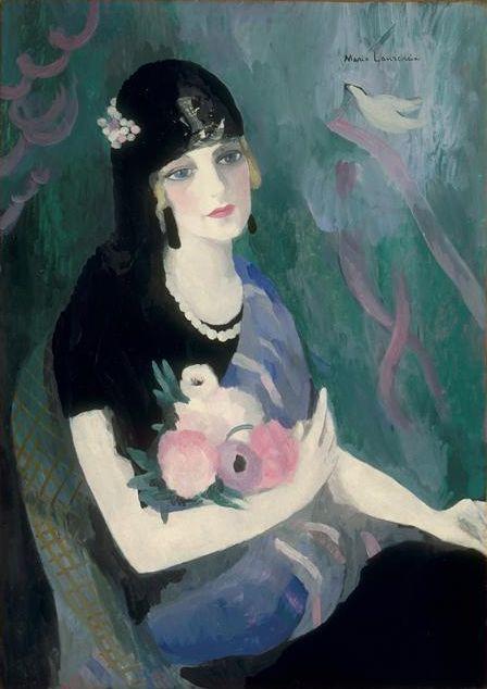 Portrait of Baroness Gourgaud in Black Mantilla, 1924 by Marie Laurencin https://www.artexperiencenyc.com/social_login/?utm_source=pinterest_medium=pins_content=pinterest_pins_campaign=pinterest_initial