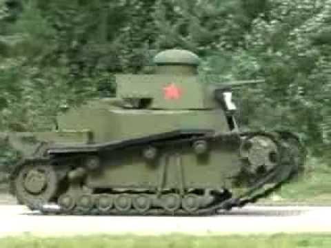 Первый Советский танк МС-1 на ходу-The first Soviet tank MC-1 on the move