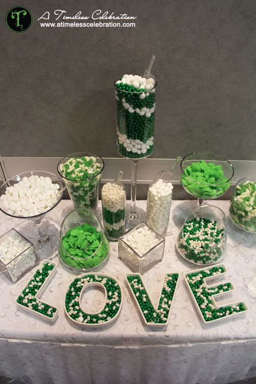 Green & white candy buffet | A Timeless Celebration Events Styling & Management Montreal