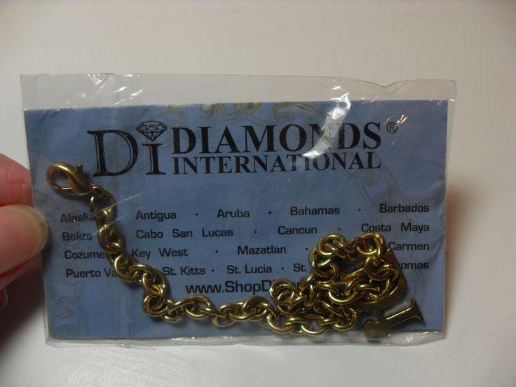 Vintage charm bracelet, Diamond charm, Diamonds International cruise bracelet, tourist, Gingerslittlegems by GingersLittleGems on Etsy