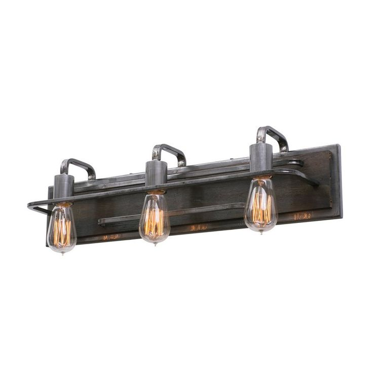 $199 Varaluz Lofty 3-Light 6-in Steel Warehouse Vanity Light Bar