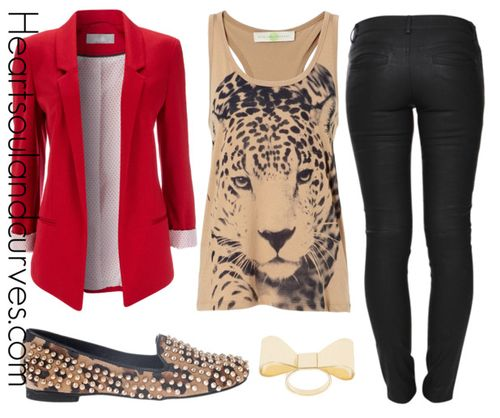 The red blazer and cheetah print flats make this great outfit idea inspiration.!