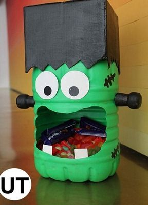 Contenedor de dulces con forma de Frankenstein