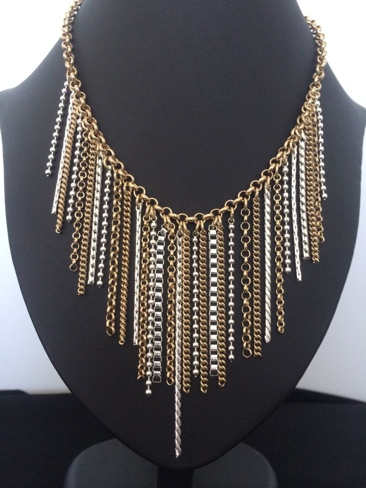 Unique Fashion Jewellery Australia - Gold and Silver Tassle Statement Necklace, $45.00 (http://www.uniquefashionjewellery.com/gold-and-silver-tassle-statement-necklace/)