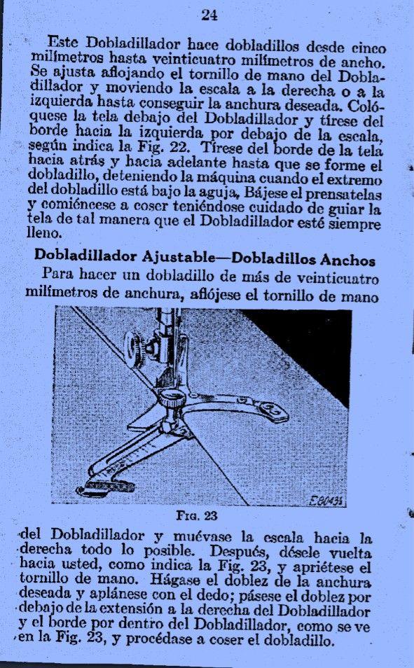 Dobladillador ajustable. Pág. 24