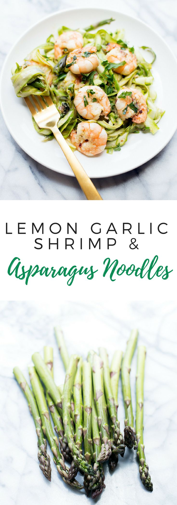 This lemon garlic shrimp with asparagus noodles is the perfect light summer dinner that is easy to make and comes together in minutes!