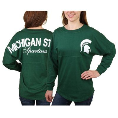 Women's Hunter Green Michigan State Spartans Pom Pom Long Sleeve Jersey Top