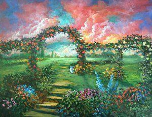Painting - Red Sky Garden by Randol Burns
