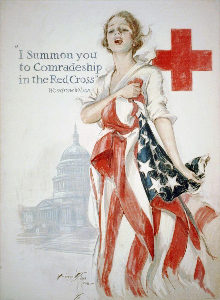 """Poster da Cruz Vermelha Americana para a  Primeira Guerra Mundial. 1918. Ilustrador: Harrison Fisher (Nova York, NY, USA, 27/07/1875 ou 1877 - 19/01/1934, Nova York, NY, USA).  Subtítulo: """"Eu o convoco à camaradagem na Cruz Vermelha"""",   Woodrow Wilson."""