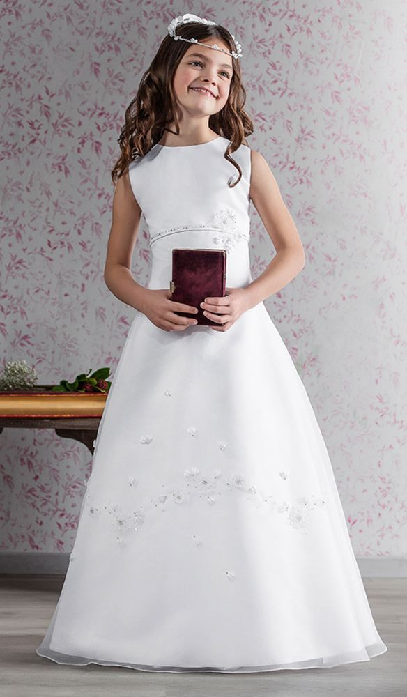 Graceful Communion Dress with Flowers - 70149 Emmerling - NEW 2015 - Emmerling First Communion Dress - Graceful Communion Dress - Emmerling Dress