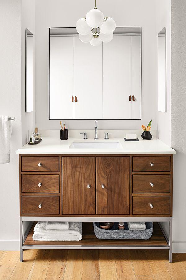 Linear Steel Base Bathroom Vanity Cabinets With Top Modern
