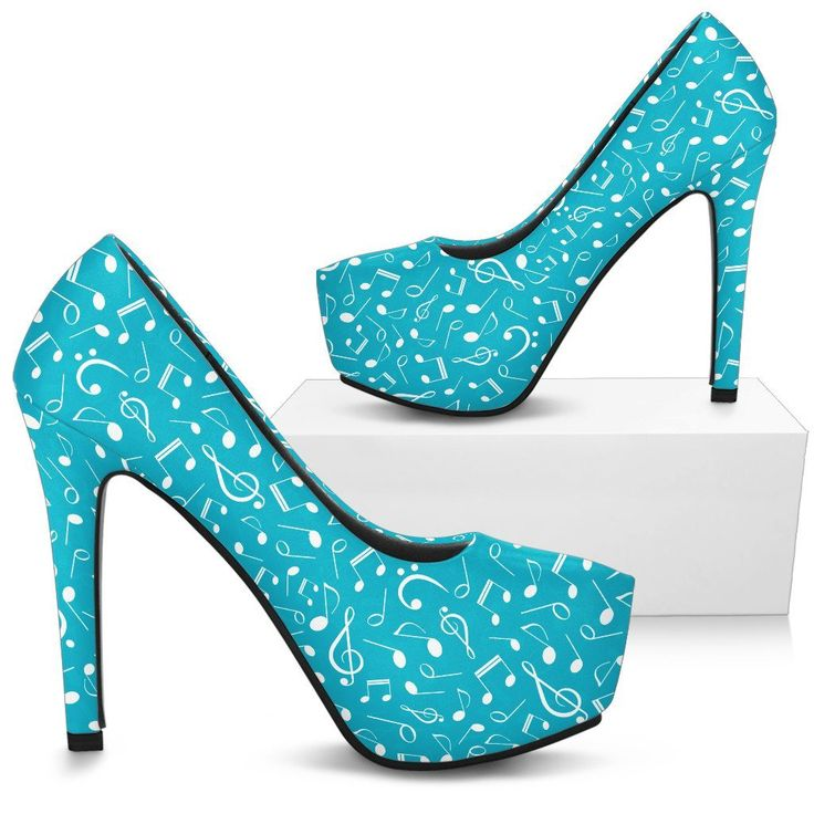 Just in: Turquoise Music Notes Mix shoes. Womens High Heels http://oompah.shop/products/turquoise-music-notes-mix-shoes-womens-high-heels