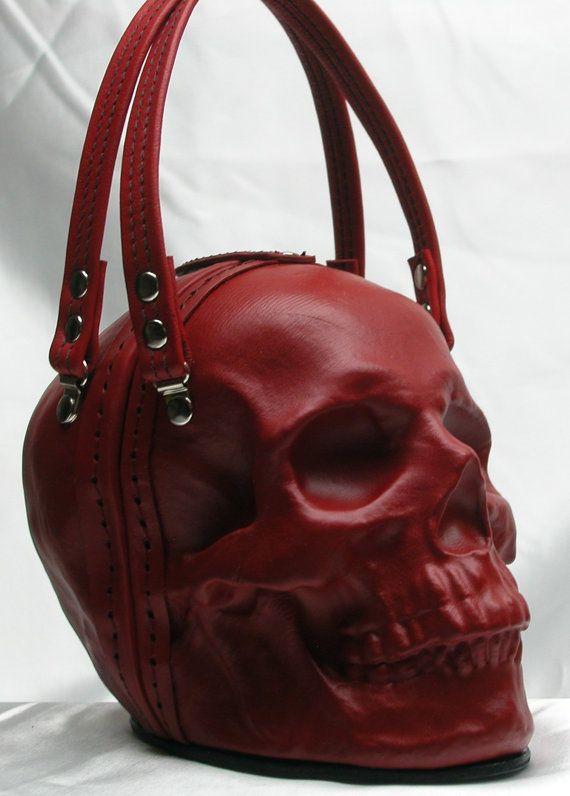 Pochette de sac à main en cuir crâne en rouge