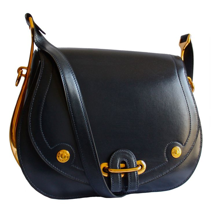 very rare Hermes Passe-Guide navy blue shoulder bag | From a collection of rare vintage handbags and purses at https://www.1stdibs.com/fashion/accessories/handbags-purses/