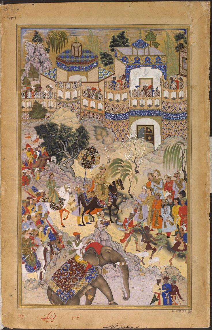 Painting, Akbarnama, Akbar's triumphant entry into Surat, Farrukh Beg, opaque watercolour and gold on paper, Mughal, ca. 1586-1589, Victoria and Albert Museum