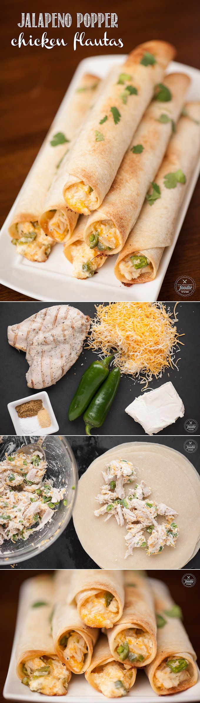 Feed a crowd at any game time party with these incredibly delicious and easy to make Jalapeno Popper Chicken Flautas finger foods.