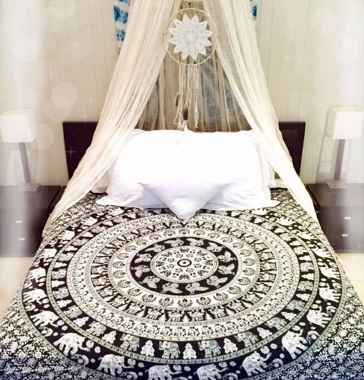 Queen Hippie Indian Tapestry Elephant Mandala Throw Wall Hanging Gypsy Bedspread #Handmade #BedspreadTapestryWallHanging