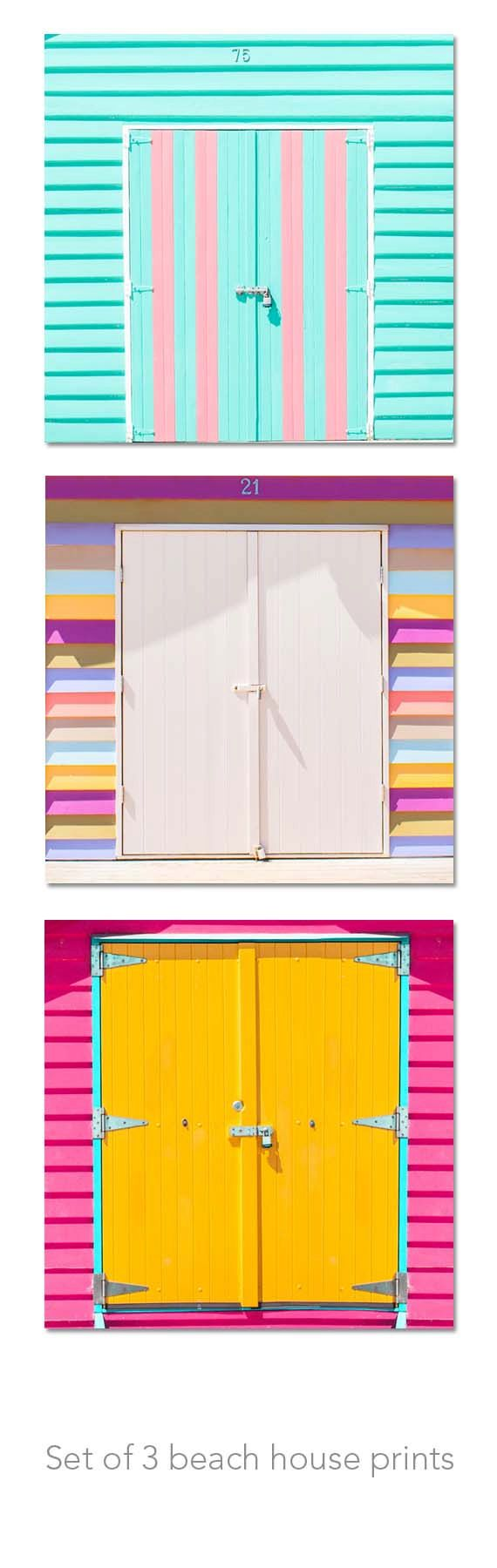Beach houses with pretty coloured doors!    Beach photography beach house set colourful by mylittlepixels