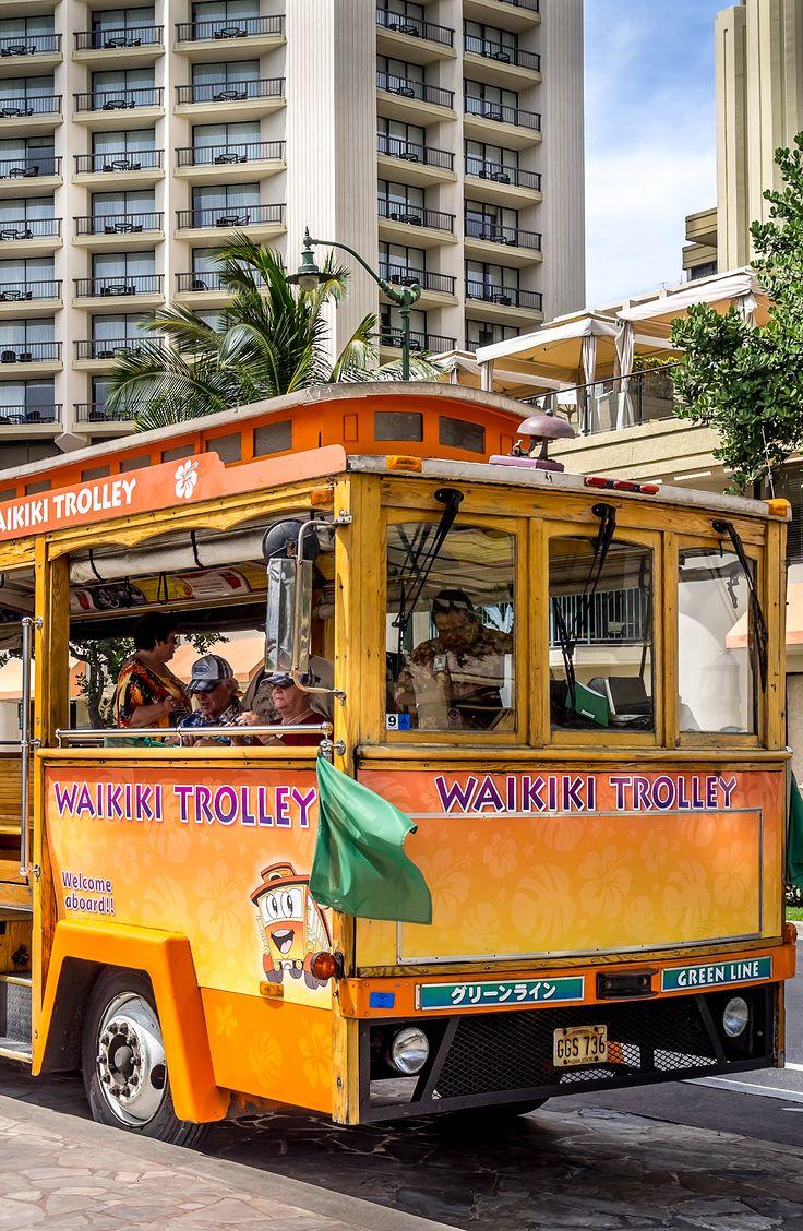 Waikiki Trolley bus on Kalakaua avenue in Waikiki