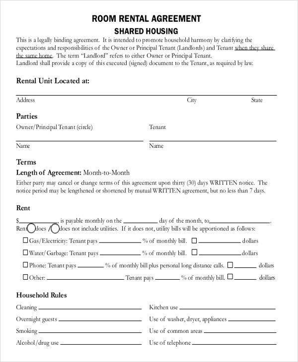 Sample Room Rental Agreement Hervorragend Room Rental Agreement