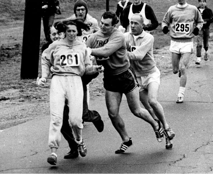 Kathrine Switzer - 50 Years After Sparking a Revolution, an Icon Runs Boston Again  http://www.runnersworld.com/boston-marathon/50-years-after-sparking-a-revolution-an-icon-runs-boston-again?utm_campaign=Runner%25E2%2580%2599s%2520World