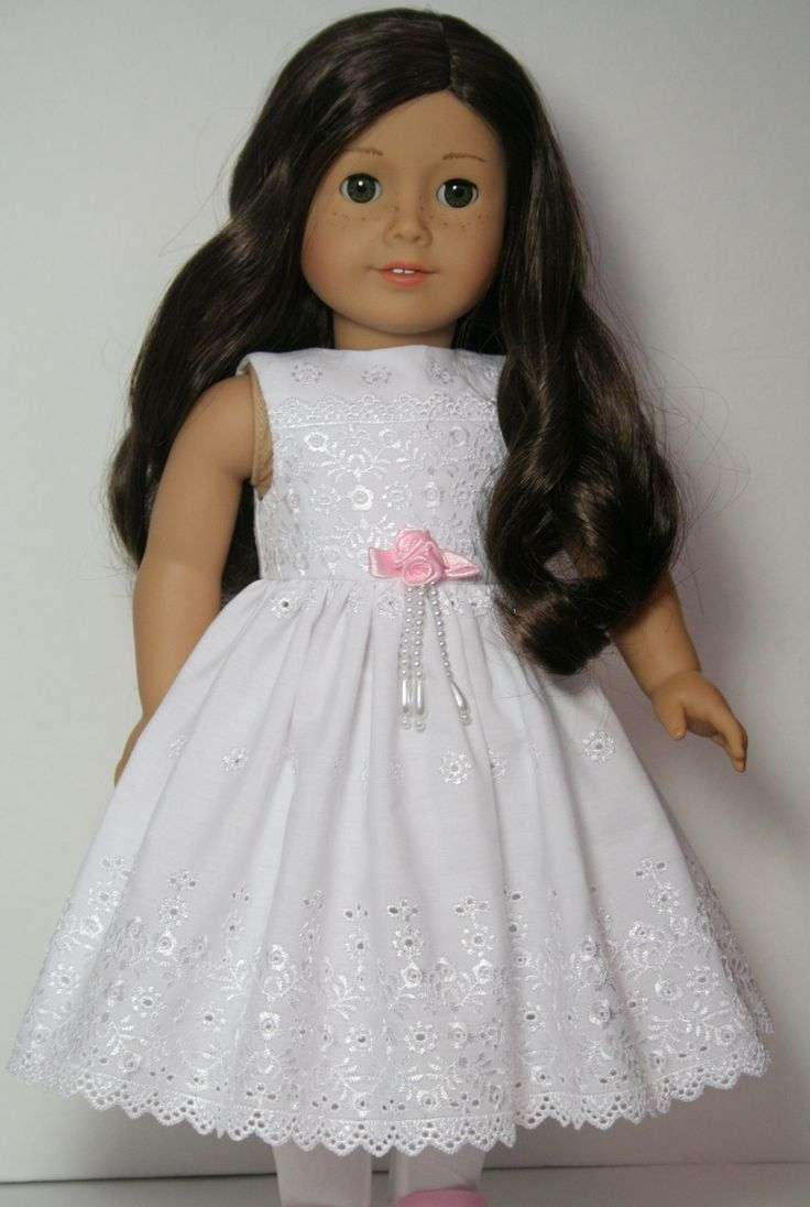 "White Eyelet Lace Broderie Anglaise Dress for 18"" American Girl Dolls Clothes"