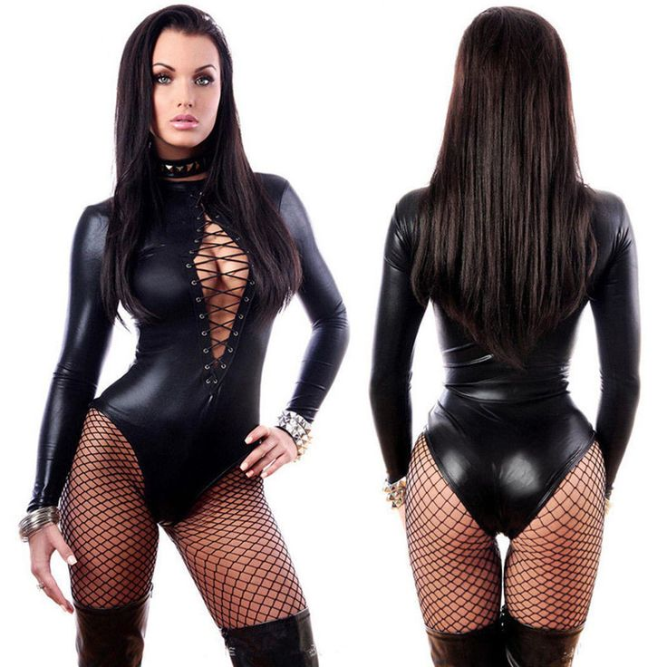 Womens Wetlook Vinyl Pvc Catsuit Front Lace Up Bodysuit Jumpsuit Clubwear Romper