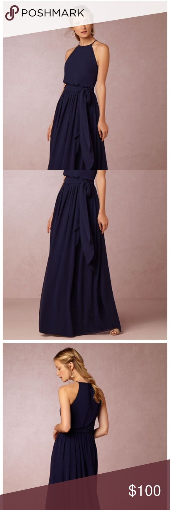 """Donna Morgan Alana Dress Navy blue bridesmaid or wedding guest dress with high neck and long flowing skirt. Has been professionally shortened and falls 57"""" from shoulder. Comes with fabric waist tie that can be worn several ways. Still available in BHLDN stores where you could try it on first for fit. ;) Donna Morgan Dresses Wedding"""