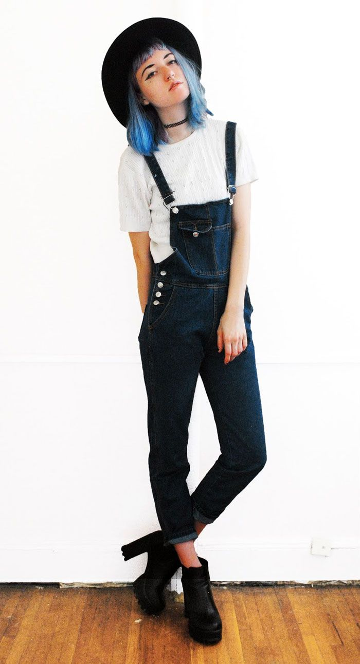 Pockets Solid Color Denim Style Sleeveless Overalls - http://ninjacosmico.com/18-must-have-grunge-accessories-clothing/6/