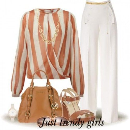 chiffon striped blouse- Spring work outfits for women http://www.justtrendygirls.com/spring-work-outfits-for-women/