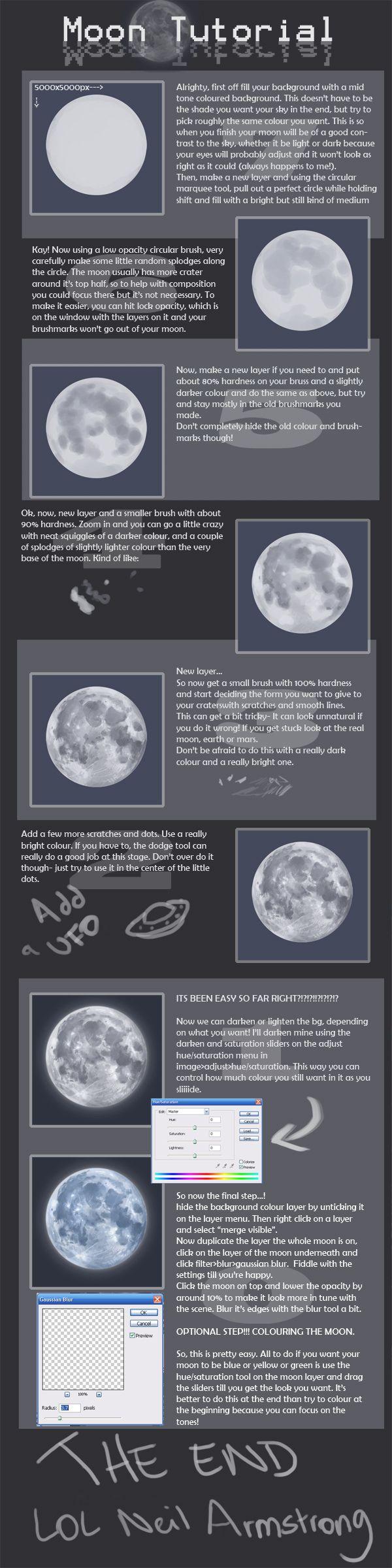 """Moon:  """"#Moon Tutorial,"""" by Spell, at deviantART."""