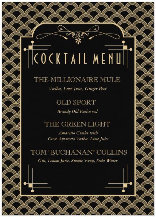 Great Gatsby Cocktail Menu