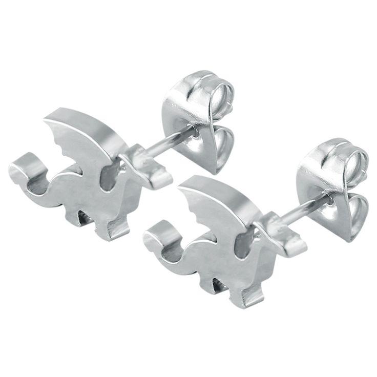 >> Click to Buy << Dinosaur earrings stud stainless steel earrings for women mens ear studs ear piecring male earrings boucles d'oreille women #Affiliate