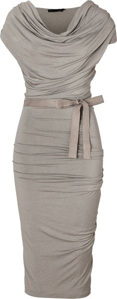 Donna Karan New York Gray Hemp Draped Jersey Dress with Belt. fashion
