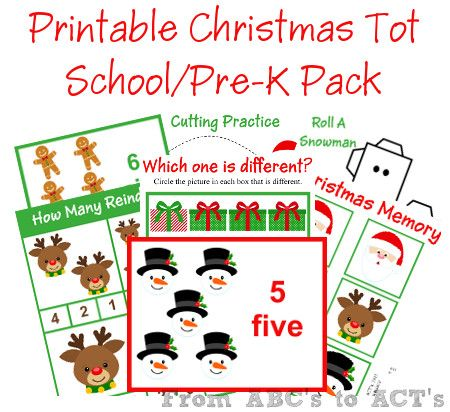 Free Printable Christmas Tot School/Pre-K Pack from From ABC's to ACT's