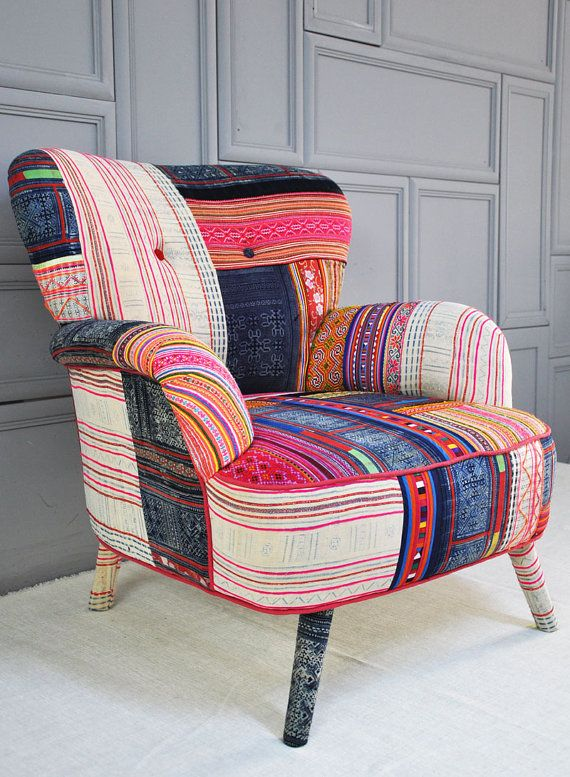 Thai Hmong patchwork armchair by namedesignstudio on Etsy #red #black #chair