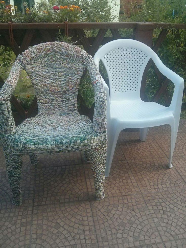 Fotel ogrodowy oplecione wikliną papierową