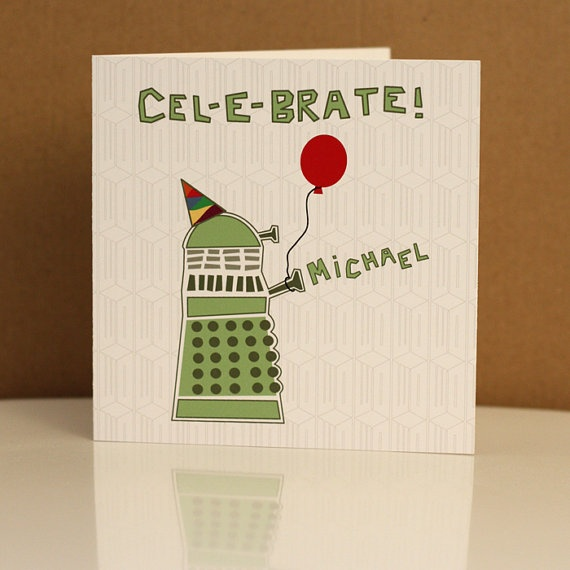 Personalised Doctor Who Dalek Birthday Card Dr by designedbywink, £4.50