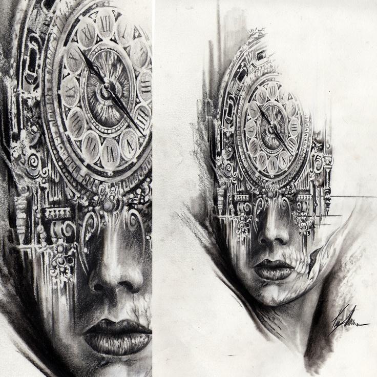 Drawing Clock Face Skull Artwork Pinterest Clock