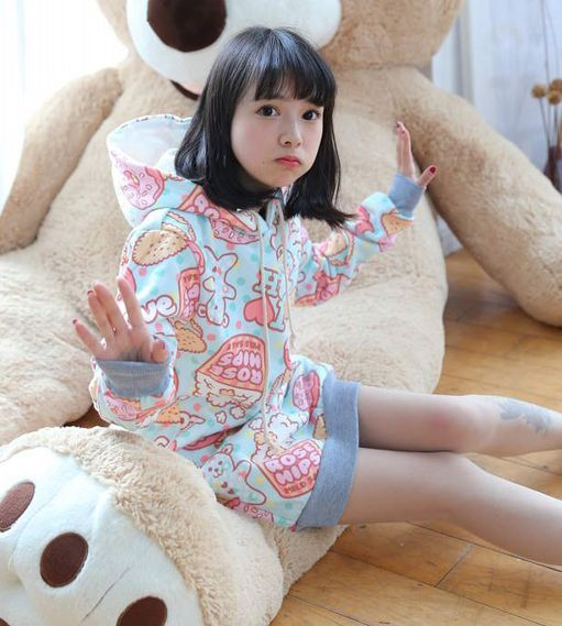 Japanese harajuku kawaii marca dragon hooded fleece pullover