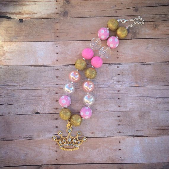 Pretty in Pink Princess Chunky Bubblegum Necklace - Photography Prop - Fits 6 Months and Up- Ritsy - Pink - Fabulous  on Etsy, $18.95