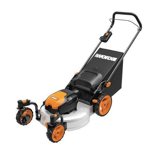 Cheap WORX WG719 13 Amp Caster Wheeled Electric Lawn Mower 19-Inch. Clean black design with orange touch. ~ http://ever-unfolding.net/best-electric-lawn-mower-reviews/