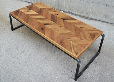 Reclaimed Wood Steel Coffee Table