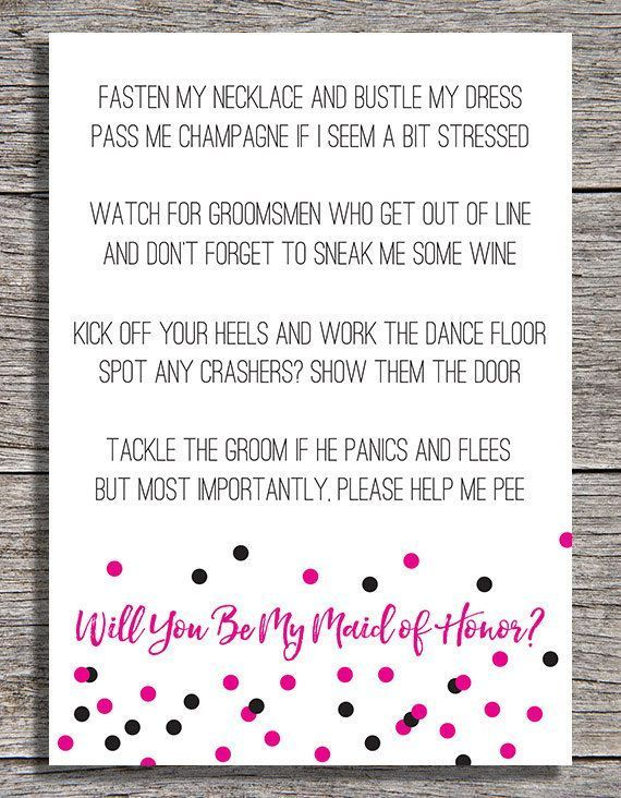 Printable Will You Be My Matron Of Honor Card