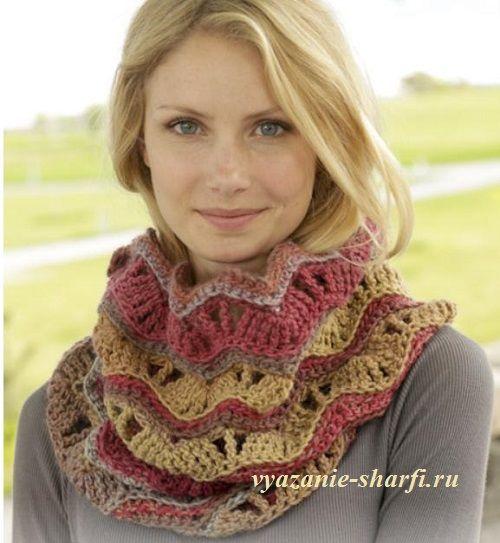 простой шарф хомут крючком с ажурным узором