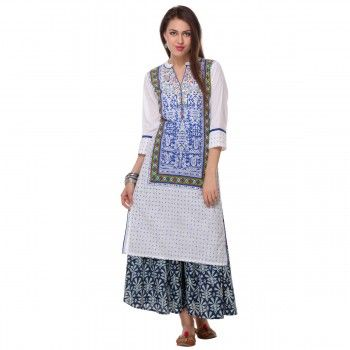 Cotton White Printed Stitched Kurti With Palazzo - S165169P