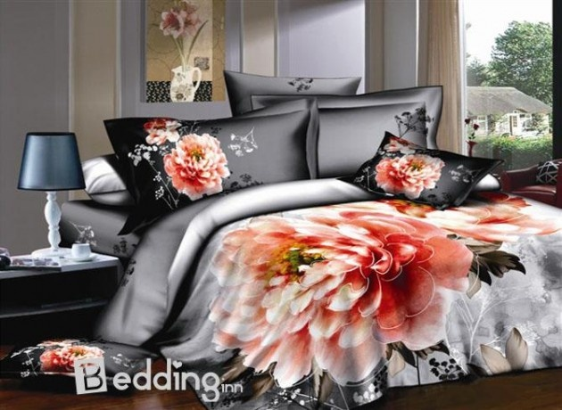 15 Unique 3D Bedding Set Designs - Silver Gray with Pink Peony
