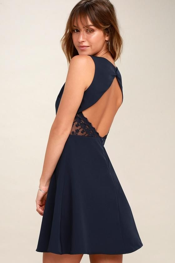 fbe8536aae  AdoreWe  Lulus -  Lulus Flirt and Flair Navy Blue Backless Skater Dress -  Lulus - AdoreWe.com