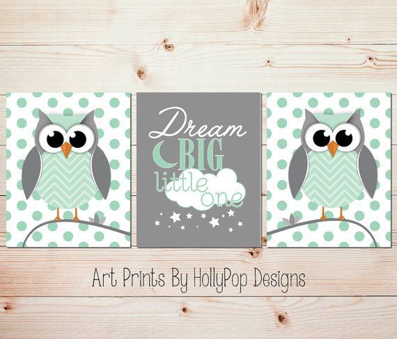 Mint Gray Nursery Wall Art Dream Big Little One Baby Boy Nursery Wall Art Boy Owl Decor Mint Green Nursery Art Set of 3 Modern Prints #1210